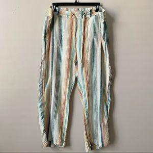 Per Se Striped Drawstring Multicolored Pants